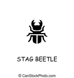 Stag beetle flat vector icon