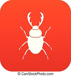 Stag beetle icon digital red for any design isolated on white vector illustration