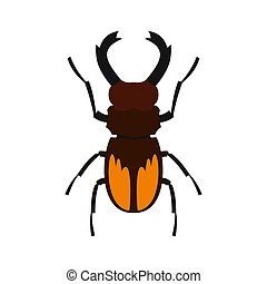Stag beetle icon, flat style