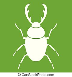 Stag beetle icon white isolated on green background. Vector illustration