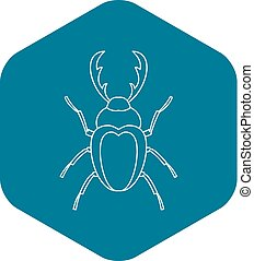 Stag beetle icon. Outline illustration of stag beetle vector icon for web