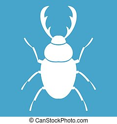 Stag beetle icon white isolated on blue background vector illustration