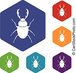 Stag beetle icons set rhombus in different colors isolated on white background