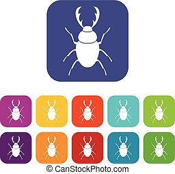 Stag beetle icons set vector illustration in flat style in colors red, blue, green, and other