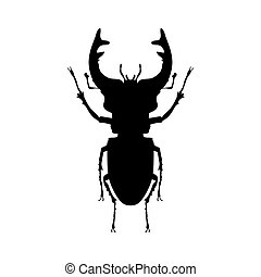 Stag beetle insect black silhouette animal. Vector Illustrator.