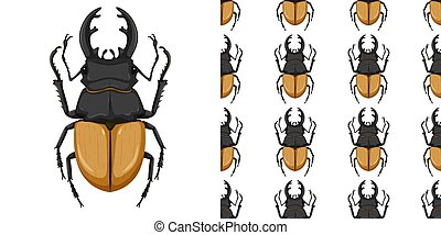 Stag beetle isolated on white background and seamless illustration