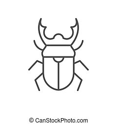 Stag beetle line outline icon isolated on white. Vector illustration