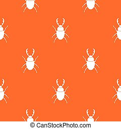 Stag beetle pattern repeat seamless in orange color for any design. Vector geometric illustration
