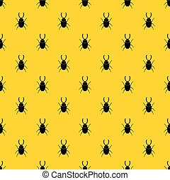 Stag beetle pattern seamless vector repeat geometric yellow for any design