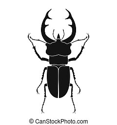 Stag beetle vector icon isolated. Black stag beetle logo in flat style