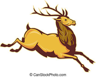 Stag deer or buck jumping - illustration of a Stag deer or...