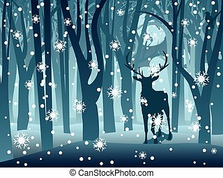 Stag in Winter Forest - Silhouettes of a stag in the forest...