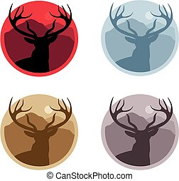 Stag silhouette badges - A series of stag head silhouette...