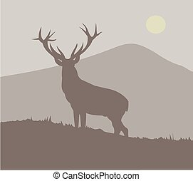 Silhouette of a stag against a hilly landscape.