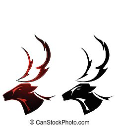 Stag tattoo design - A stag deer tattoo design in two color...