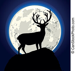 stag - detailed illustration of a stag in front of the moon,...