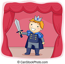 Illustration of a Kid Dressed as a Prince Acting in a Stage Play