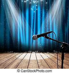 Stage and microphone - Blue stage with microphone and...
