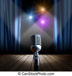 Stage and retro microphone - Stage with blue curtain and...