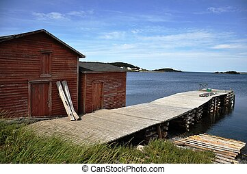 stage and wharf in fishing community of St. Brendan's Newfoundland