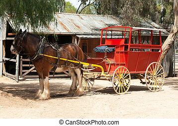 Stage Coach and Clydesdale Draught Horse - A Stage Coach and...