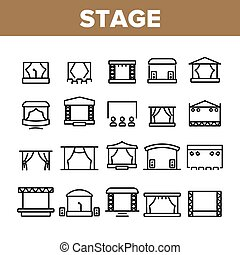 Stage Construction Collection Icons Set Vector