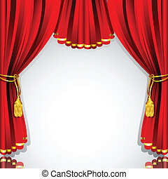 Stage Curtain - illustration of red stage curtain drape on...