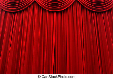 Red cinema and stage curtain background texture.