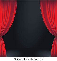 Stage curtain - Vector illustration of a red stage curtain