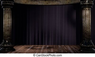 stage curtain with light and shadow