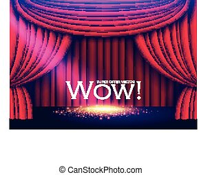 Stage Curtain with Spotlights and Shining Floor. Vector