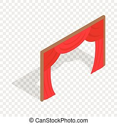 Stage curtains isometric icon