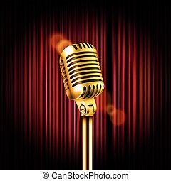 Stage curtains with shining microphone vector illustration....