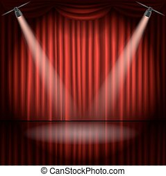 Stage curtains with spot light vector illustration