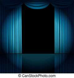Stage curtains with spotlight vector illustration