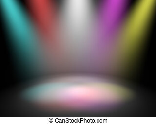 Empty theater stage with spot disco lights, 3d render