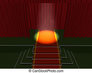 stage - 3d curtain red theater stage