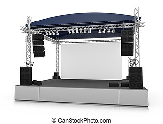 Stage - Empty outdoor stage with blank screen. 3D rendered ...