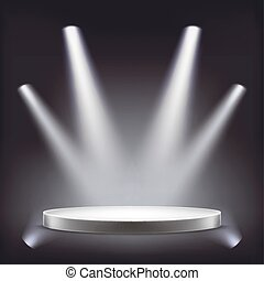 Stage, empty round podium illuminated by spotlights