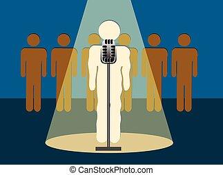 Stage Fright - Nervous Speaker Shaking Nervously In Front of...
