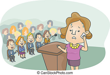 Stage Fright - Illustration of a Girl with a Worried Look on...