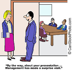 Stage Fright - Business cartoon of businesswoman about to...