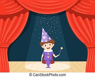 stage., giovane, attore, bambini, performance., piccolo, ruolo, mago, gioco, palcoscenico