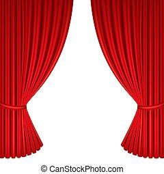 stage., gordijnen, theater, rood