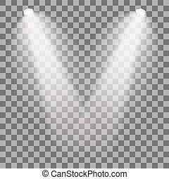 Set of stage illuminated spotlight. Scene illumination on transparent background. Cold light effect. Vector illustration.