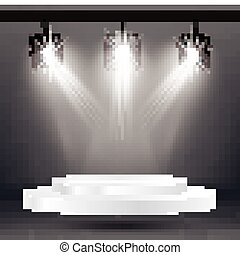 Stage Illumination Effects with Spotlights and White Platform.