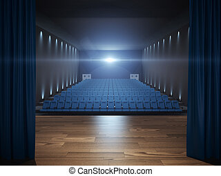 Stage in cinema with blue seats