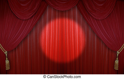 Stage in the theater - Red curtain of a classical theater