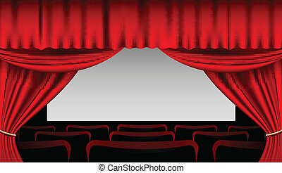Stage interior with red curtains - Vector Illustration of...