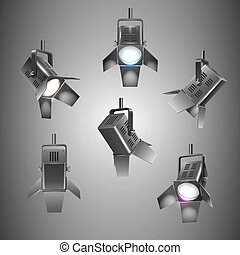 stage lighting - Realistic stage spotlights elements vector ...
